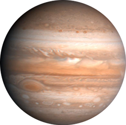 The planet Jupiter, showing its giant red spot