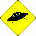 A sign warning of flying saucers
