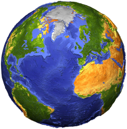 A globe of the Earth showing geographic features
