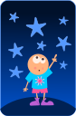 A child on a planet pointing at stars