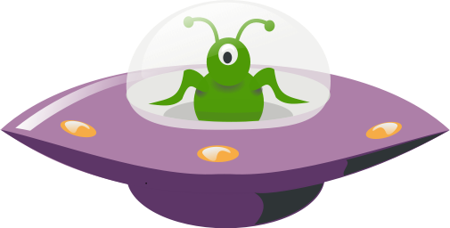 An alien in a flying saucer